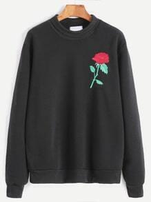 Black High Neck Rose Embroidery Sweatshirt