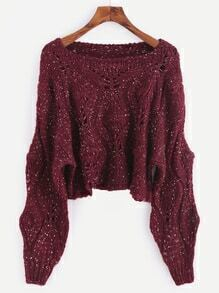 Burgundy Dropped Shoulder Seam Hollow Crop Sweater