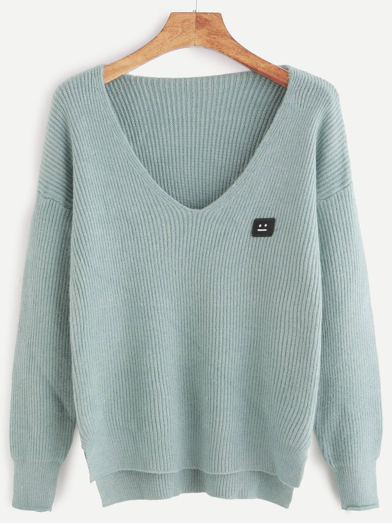 Pale Green Dip Hem Emoji Patch Ribbed Knit Sweater