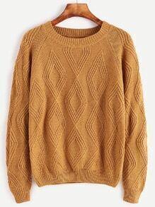 Khaki Raglan Sleeve Diamondback Knit Sweater