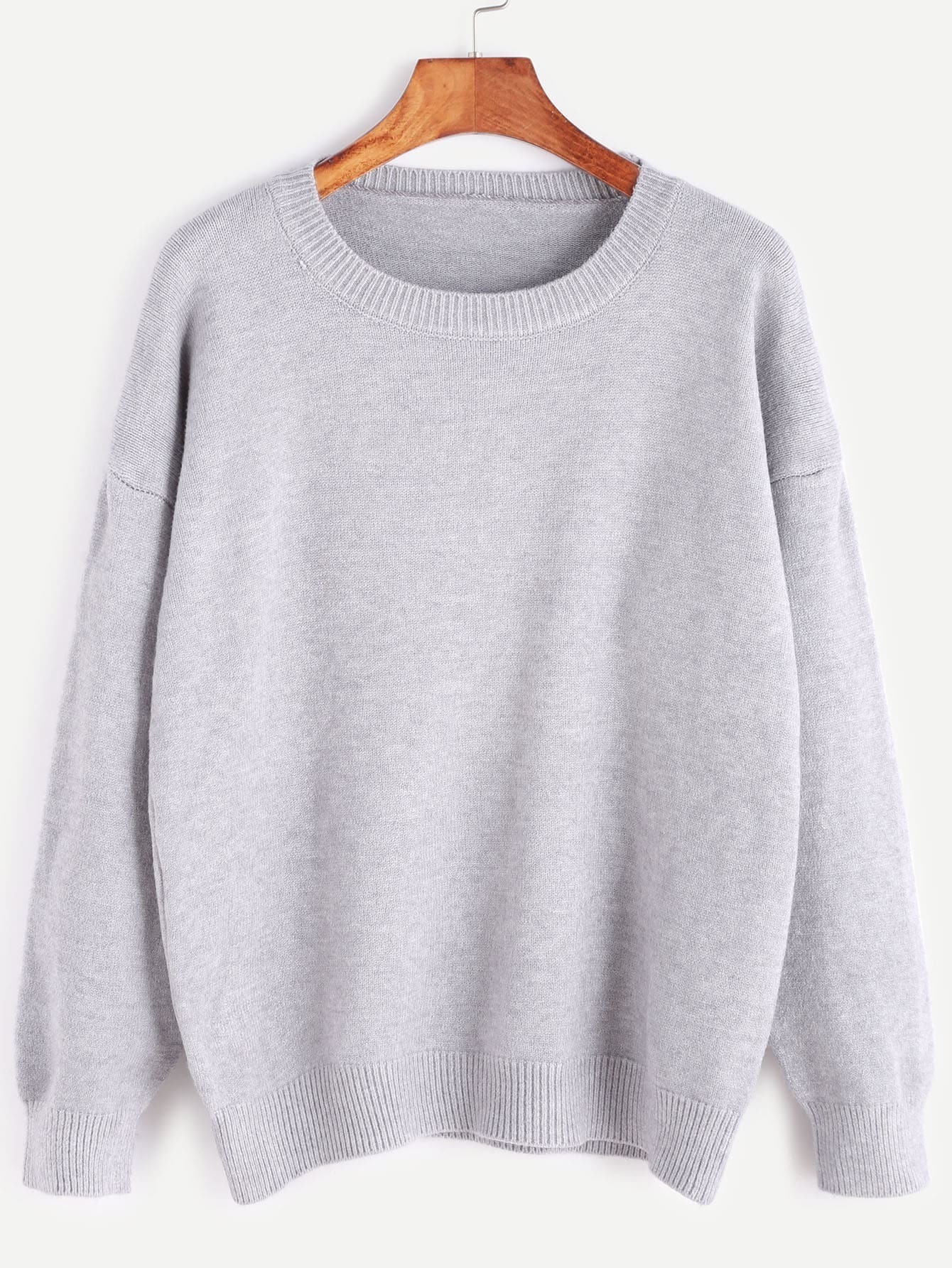 Pale Grey Dropped Shoulder Seam Sweater