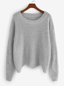Grey Dropped Shoulder Seam Wave Hem Sweater