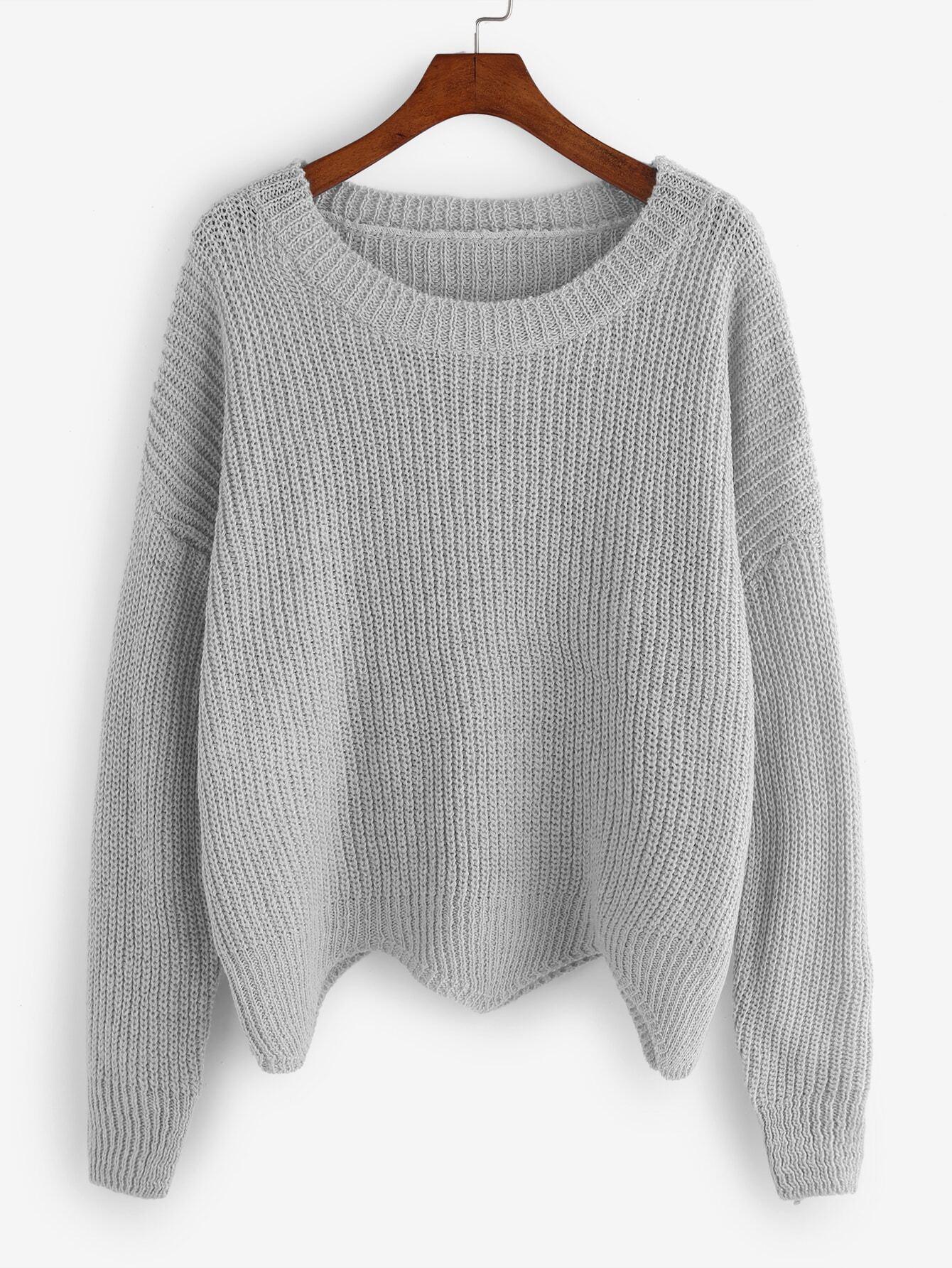 Grey Dropped Shoulder Seam Wave Hem Sweater