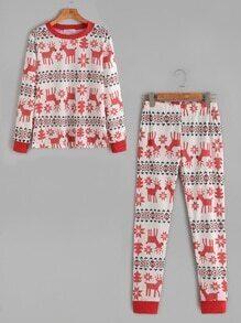 Sudadera con estampado de navidad con pantalones con cintura elástica