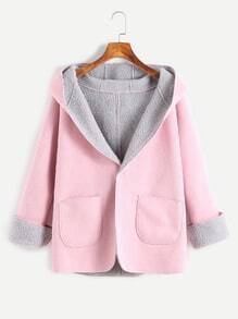 Pink Contrast Sherpa Lined Single Button Hooded Coat