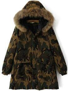 Abrigo de camuflaje con capucha y bolsillo - verde militar