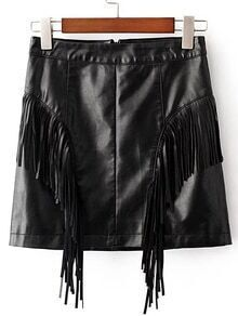 Black Fringe Detail Pu Skirt