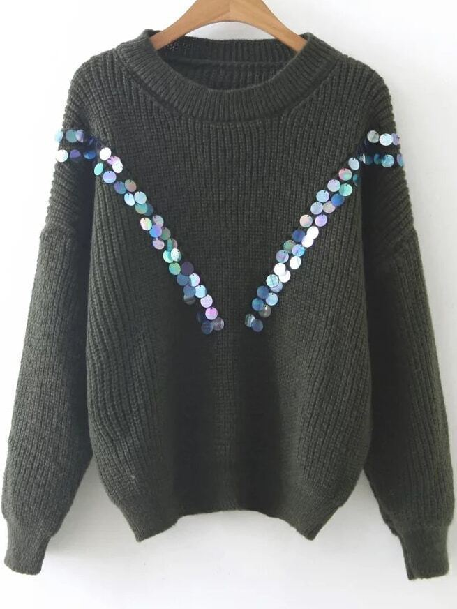 Army Green Sequin Detail Drop Shoulder Sweater