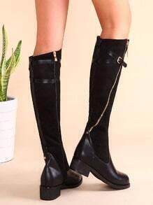 Black PU Patchwork Suede Buckled Strap Side Zipper Knee Boots