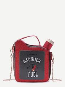 Red Fuel Tank Shaped Zip Closure Chain Bag
