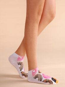 Pink And White Doughnut Print Ankle Socks