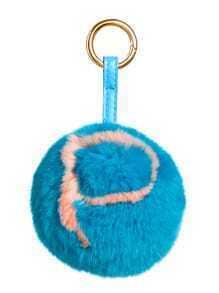 Porte-clés motif lettre avec pompon - bleu de lac