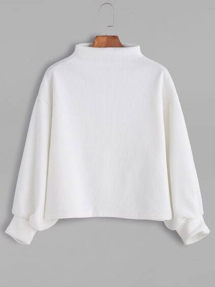 White Ribbed Lantern Sleeve Sweater