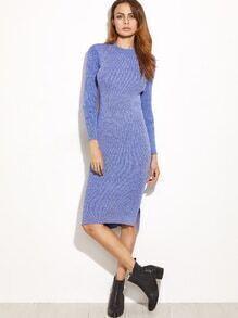 Robe en laine moulant fente côté haut et bas -bleu