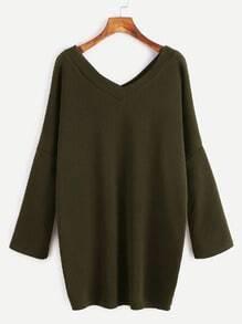Army Green Double V Neck Drop Shoulder T-shirt Dress