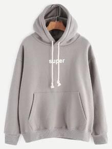 Grey Letter Print Drop Shoulder Drawstring Hooded Pocket Sweatshirt
