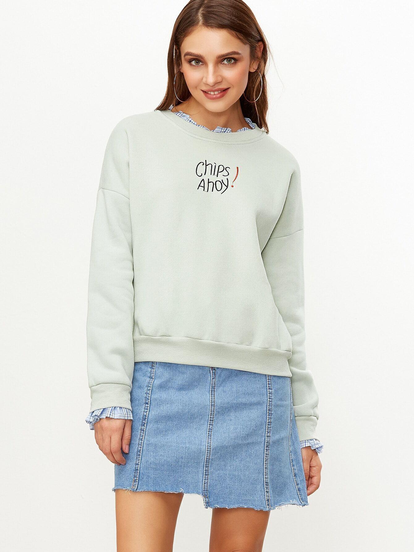 Pale Green Contrast Ruffle Trim Letter Embroidery Sweatshirt