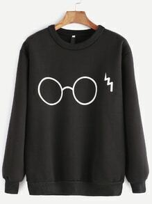 Black Glasses Print Sweatshirt