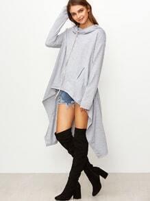 Light Grey Drop Shoulder High Low Drawstring Hooded Sweatshirt