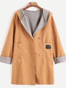 Khaki Pocket Patch Roll Sleeve Hooded Coat