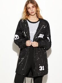 Paint Splatter Print Dip Hem Patches Drawstring Hooded Coat