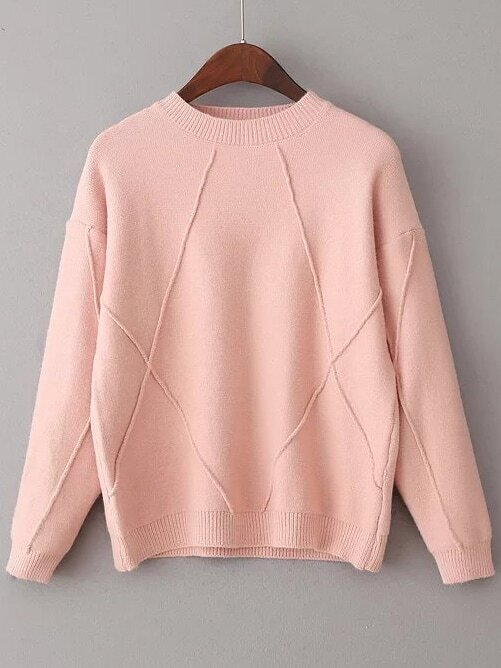 Pink Crew Neck Ribbed Trim Sweater