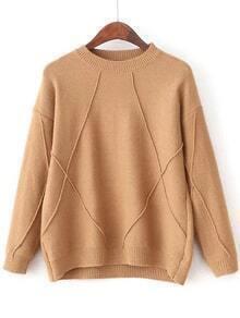 Khaki Crew Neck Ribbed Trim Sweater