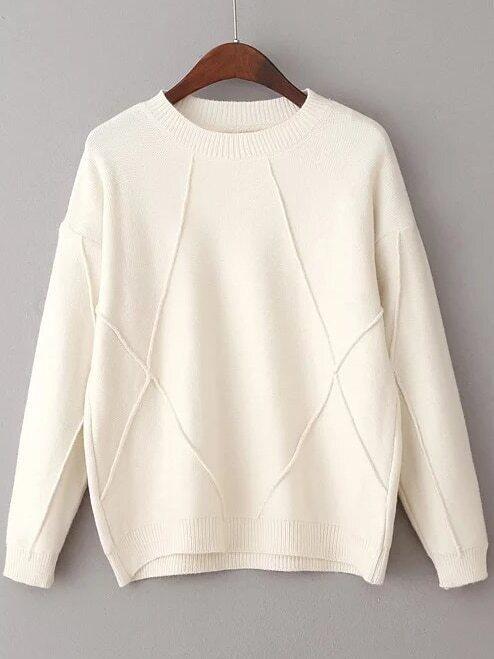 White Crew Neck Ribbed Trim Sweater sweater161108207