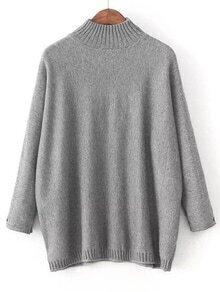 Jersey holgado con cuello redondo y detalle de parche - gris
