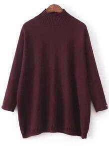 Jersey holgado con cuello redondo y detalle de parche - burdeos