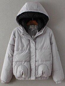 Abrigo acolchado con capucha y parche de estrella - gris