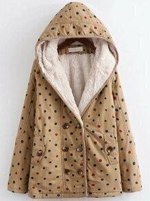 Abrigo a lunares con capucha y forro de borreguito - kaki