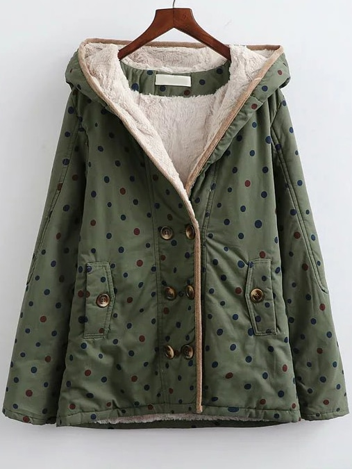 Army Green Polka Dot Hooded Coat With Faux Shearling Linging