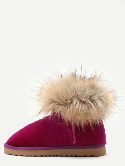 Hot Pink Velvet Soft Sole Fur Cuff Snow Boots