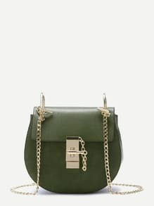 Army Green Flap PU Saddle Bag With Chain Strap