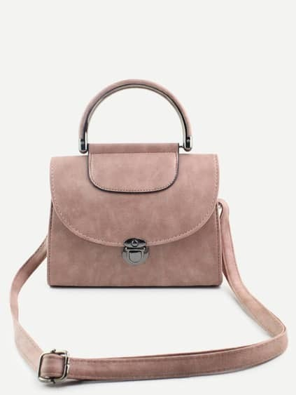 Pink PU Pushlock Closure Flap Handbag With Strap