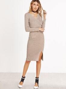 Light Khaki V Neck Wrap Front Slit Sheath Dress