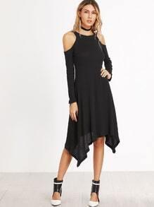 Vestido asimétrico con hombro abierto - negro