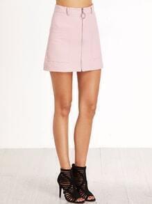 Pink Zipper Front Pockets A Line Skirt