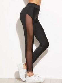 Black Contrast Mesh Side Skinny Leggings