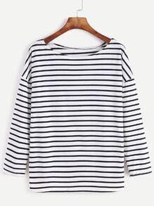 Camiseta de rayas con hombro caído - negro blanco