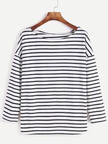 Black White Striped Dropped Shoulder Seam T-shirt