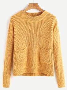 Pullover Drop Schulter doppelte Tasche vorne-ingwer
