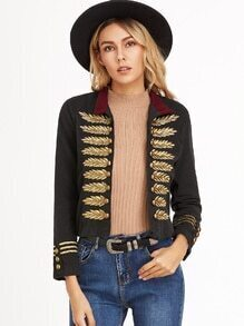 Black Contrast Collar Double Breasted Embroidered Coat