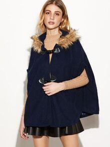 Bow Back Faux Fur Trim Horn Button Cape Coat