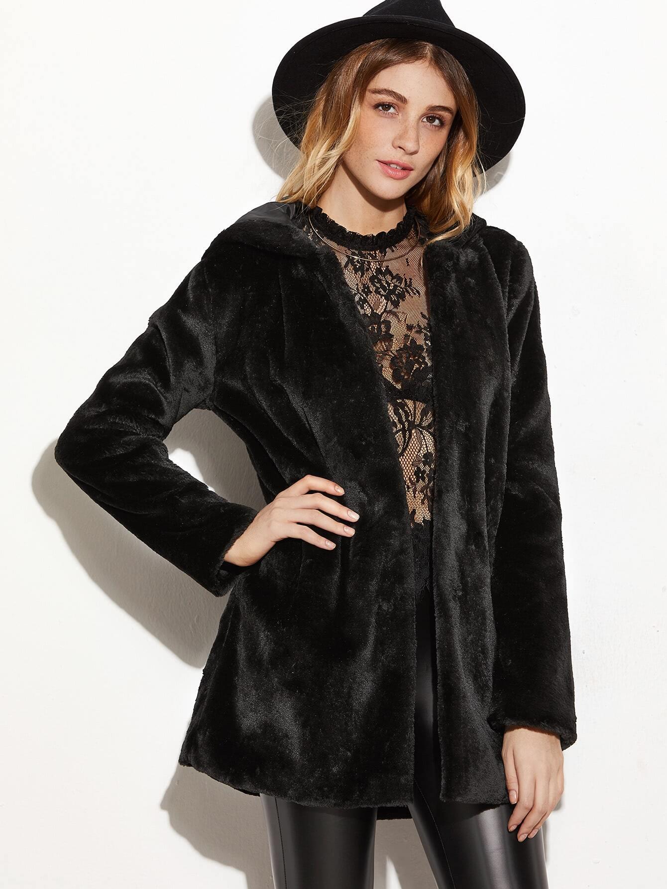 manteau capuche en fausse fourrure ouvert devant noir french romwe