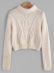 Pull tricoté à col roulé câble court -abricot