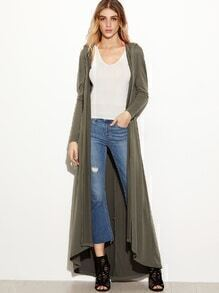 Army Green Hooded Drop Shoulder Dip Hem Coat