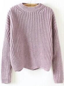 Purple Crew Neck Scalloped Hem Sweater