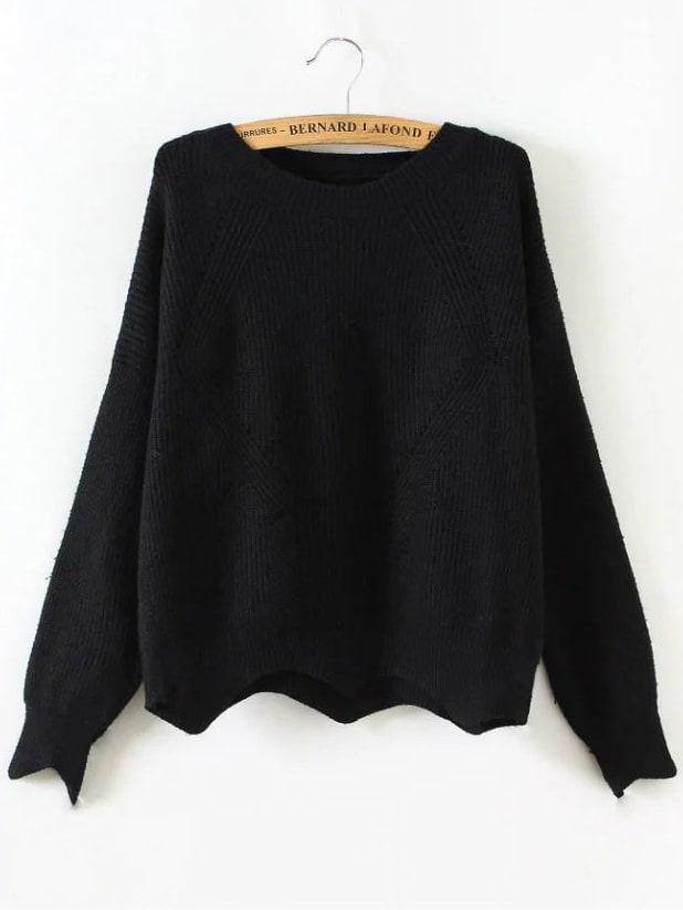 Black Round Neck Asymmetrical Trim Sweater
